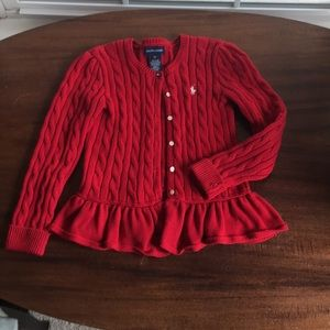 Girls Ralph Lauren red cardigan sweater.